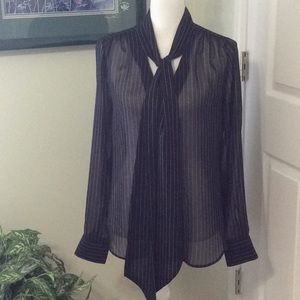 🦋 WHBM L/S sheer black, white pinstriped blouse